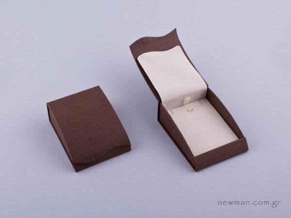 051424 - Κουτί Σταυρός/Σκουλαρίκια καφέ