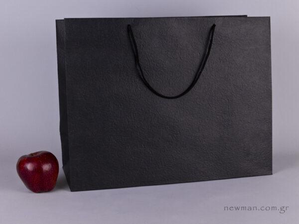 TLB 16 - ανάγλυφη τσάντα χάρτινη ΜΑΥΡΟ