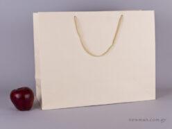 TLB 16 - ανάγλυφη τσάντα χάρτινη ΕΚΡΟΥ