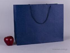 TLB 16 - ανάγλυφη τσάντα χάρτινη ΜΠΛΕ