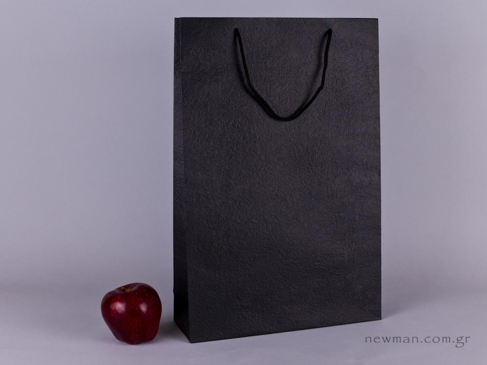 TLB 10 - ανάγλυφη τσάντα χάρτινη ΜΑΥΡΟ