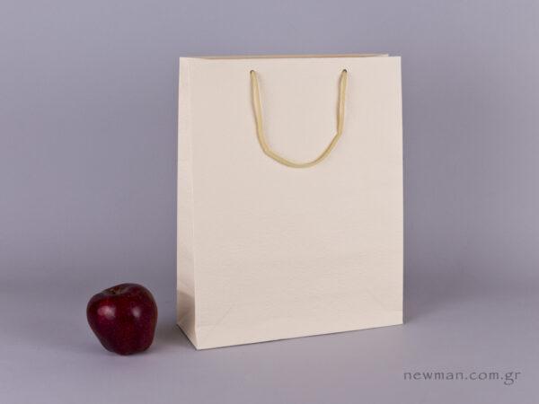 TLB 09 - ανάγλυφη τσάντα χάρτινη ΕΚΡΟΥ