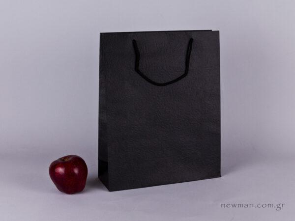 TLB 09 - ανάγλυφη τσάντα χάρτινη ΜΑΥΡΟ