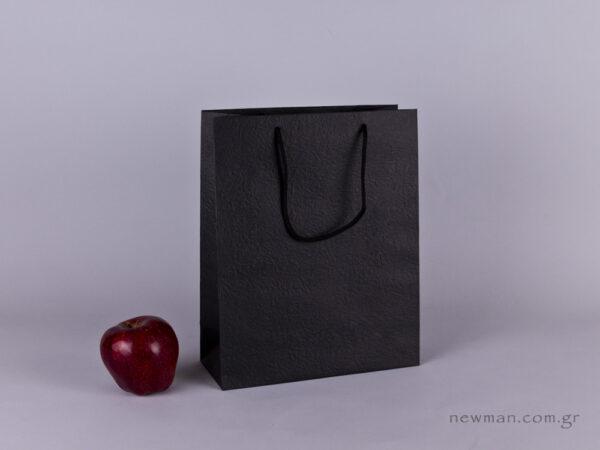 TLB 08 - ανάγλυφη τσάντα χάρτινη ΜΑΥΡΟ