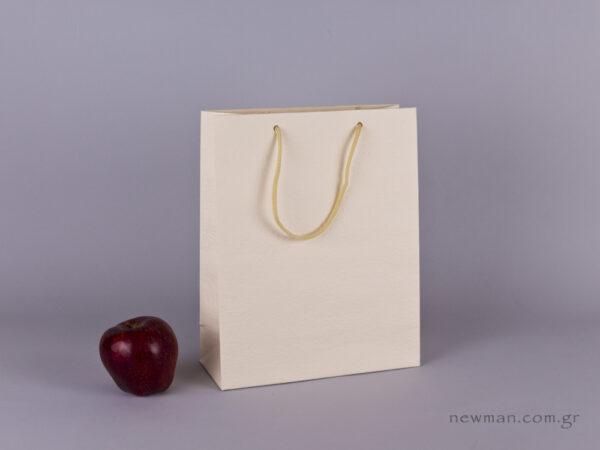 TLB 08 - ανάγλυφη τσάντα χάρτινη ΕΚΡΟΥ