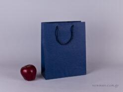 TLB 08 - ανάγλυφη τσάντα χάρτινη ΜΠΛΕ