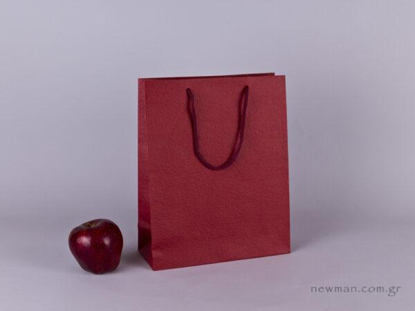 TLB 08 - ανάγλυφη τσάντα χάρτινη ΜΠΟΡΝΤΩ