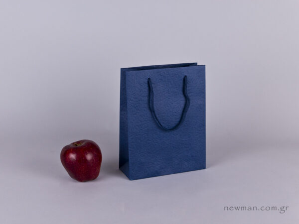 TLB 07 - ανάγλυφη τσάντα χάρτινη ΜΠΛΕ
