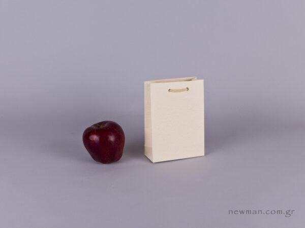 TLB 06 - ανάγλυφη τσάντα χάρτινη ΕΚΡΟΥ