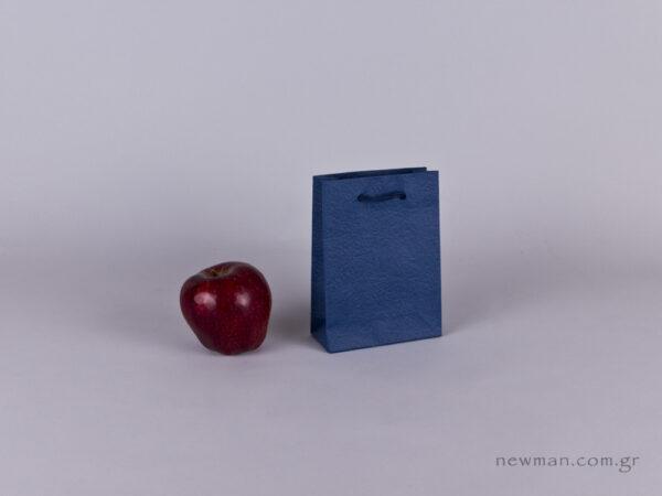 TLB 06 - ανάγλυφη τσάντα χάρτινη ΜΠΛΕ