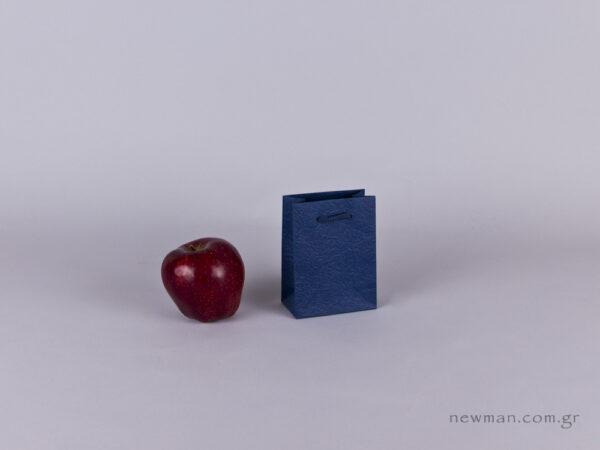 TLB 01 - ανάγλυφη τσάντα χάρτινη ΜΠΛΕ