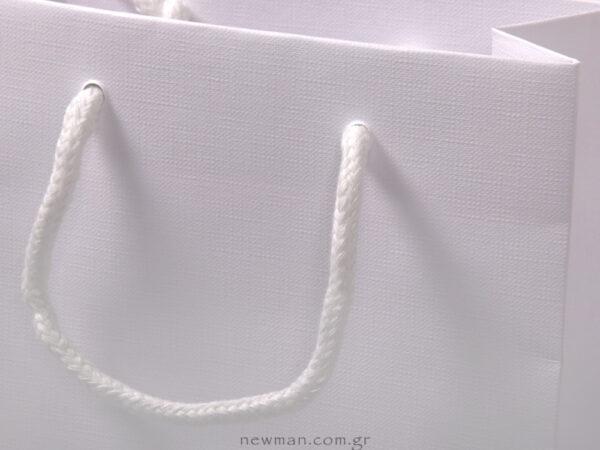 Λευκό ανάγλυφο χαρτί & βαμβακερό λευκό κορδόνι