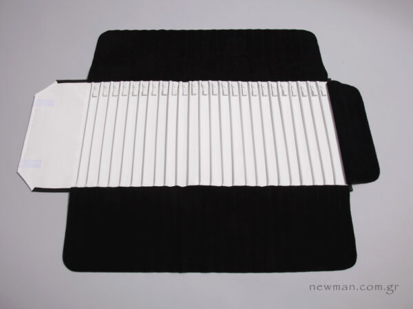 Jewellery Roll with black pleather and internal white nappa