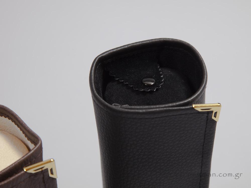 Μαύρη δερματίνη με εσωτερικό μαύρο σουέτ στη φόδρα και τον κύλινδρο