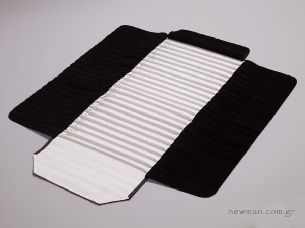 Black pleather with white nappa