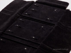 Black pleather with black suede