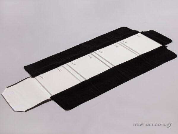 Black pleather and white nappa
