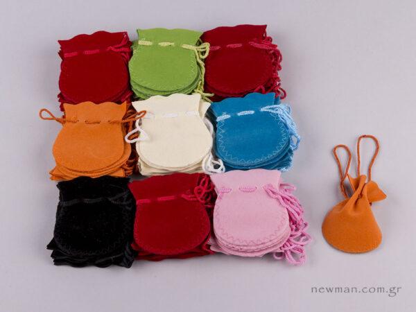 Πουγκί βελούδο οβάλ διάφορα χρώματα Νο1