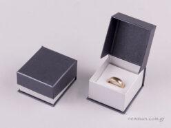 Κουτί δαχτυλίδι Ανθρακί/Ασημί