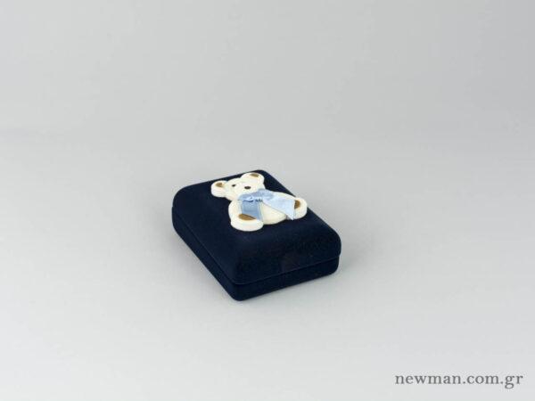 Παιδικό κουτί σε μπλε χρώμα για βαπτιστικό σταυρό με αρκουδάκι