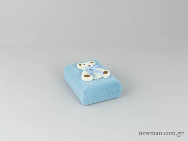Παιδικό κουτί σε σιέλ χρώμα για βαπτιστικό σταυρό με αρκουδάκι
