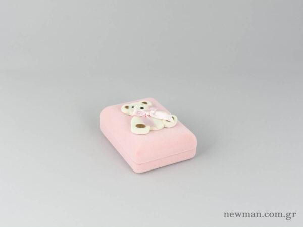 Παιδικό κουτί σε ροζ χρώμα για βαπτιστικό σταυρό με αρκουδάκι