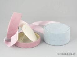Στρογγυλά κουτιά παιδικών κοσμημάτων για σταυρούς σε ροζ και σιέλ χρώμα