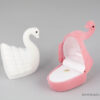 Κουτιά κοσμημάτων παιδικά σε σχήμα κύκνος και χρώματα ροζ και λευκό για δαχτυλίδι και φυλαχτό