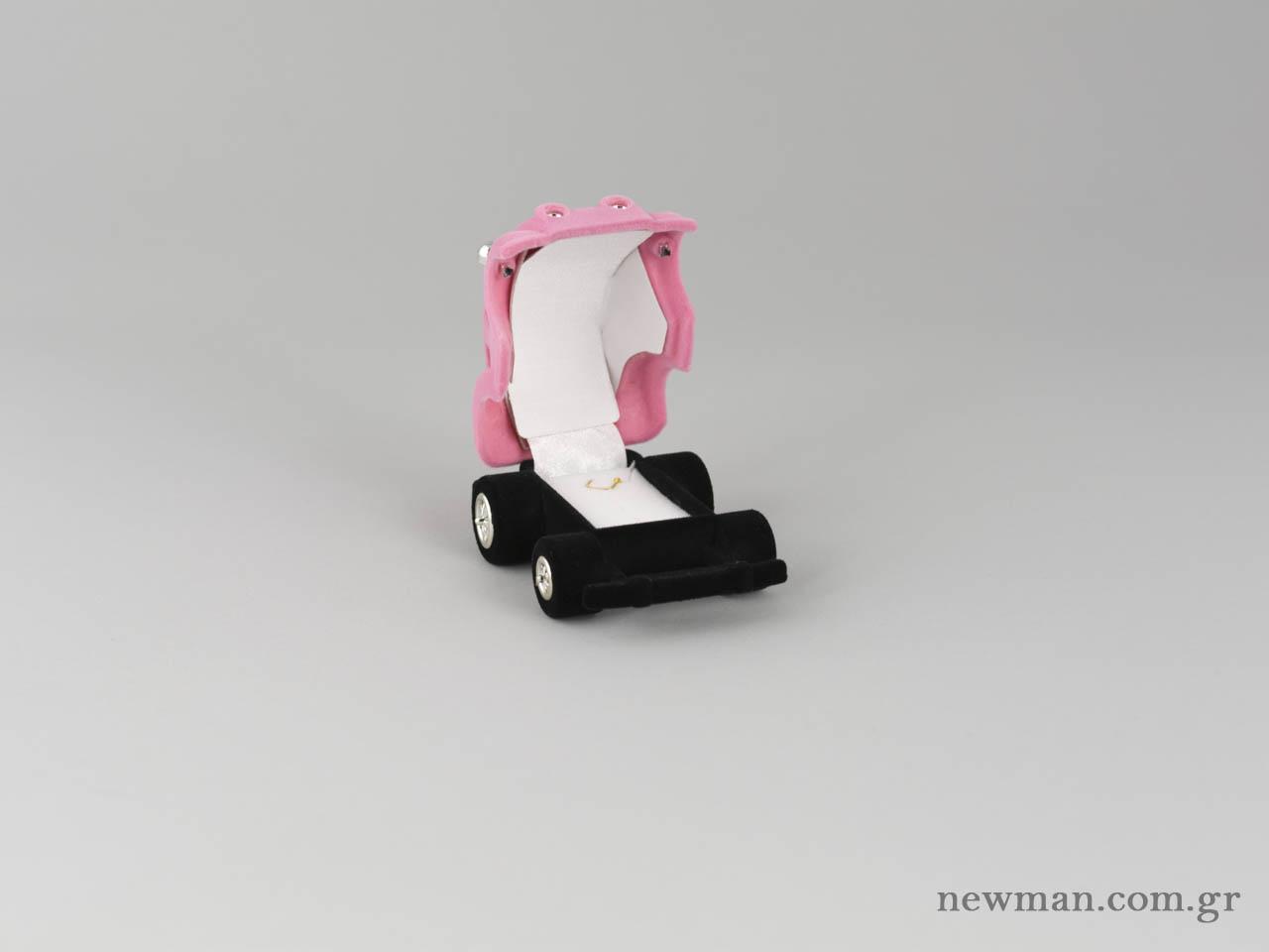Κουτιά για παιδικό δαχτυλίδι σε ροζ χρώμα. Διαθέτει και κρίκο για φυλαχτό και μενταγιόν