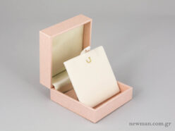 Elegant Metal Kids Box for Cross/Earrings - Light Pink (open)