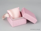 Υφασμάτινο κουτί κοσμημάτων με κορδέλα και μαξιλαράκι σε ροζ χρώμα