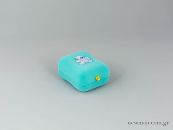 Κουτί από βελούδο για βαπτιστικούς σταυρούς σε τιρκουάζ χρώμα