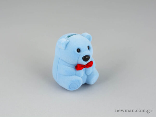 Παιδικό κουτί για κοσμήματα σε σιέλ χρώμα και σε σχήμα αρκουδάκι