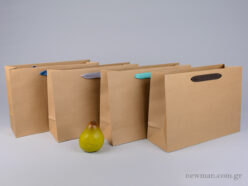 Kraft paper bag with herringbone ribbon handle in 4 colors 35x12x25cm