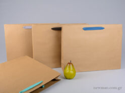 Kraft paper bag with herringbone ribbon handle in 4 colors 42x10x32cm