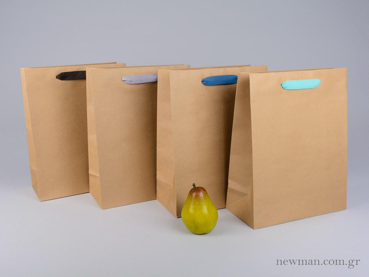 d8dd2f7373 Kraft paper bag with herringbone ribbon handle in 4 colors 26x12x33cm