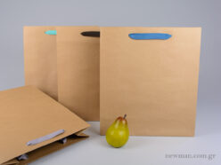 Kraft paper bag with herringbone ribbon handle in 4 colors 34x13x39cm
