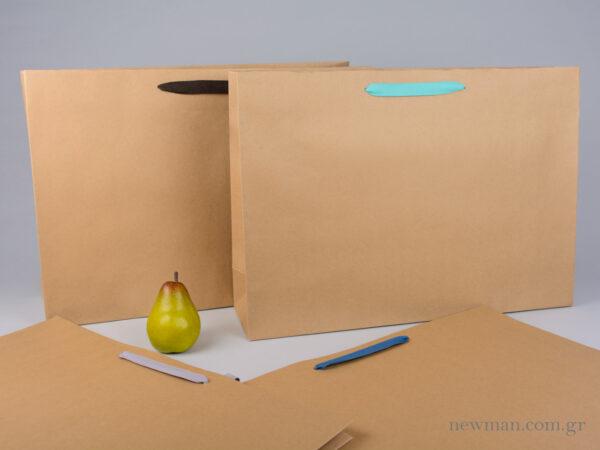 Χάρτινη τσάντη kraft 55x15x39 cm με λαβές από βαμβακερή κορδέλα, φακαρόλα σε 4 χρώματα
