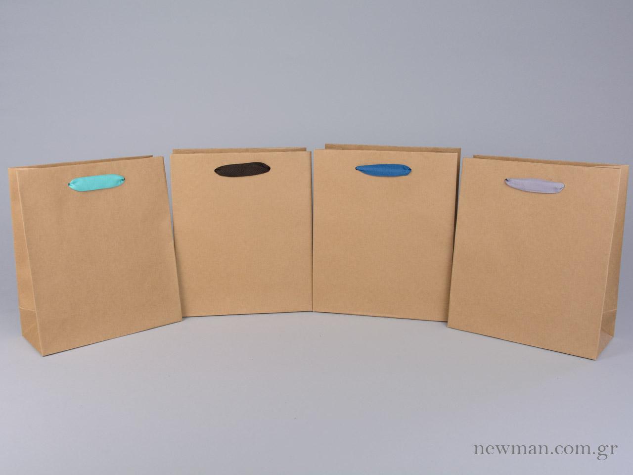 2cb15381c8 Χάρτινες τσάντες kraft σε 8 μεγέθη με λαβές φακαρόλα σε 4 χρώματα ...