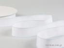 Κορδέλα γκρο λευκή με σιέλ γαζί