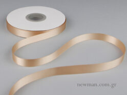 Double-sided glossy satin ribbon in beige.