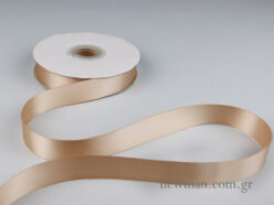 Double-sided glossy satin ribon in beige.