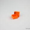 Jewellery box 4x4x2.2cm in orange.