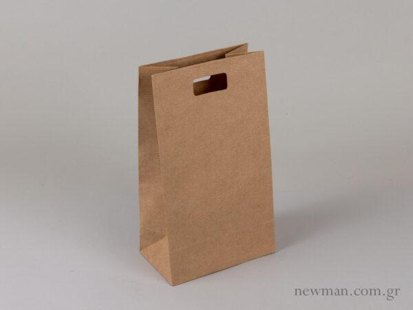Τσάντα kraft με χούφτα tsanta xartini xoufta no3 063004