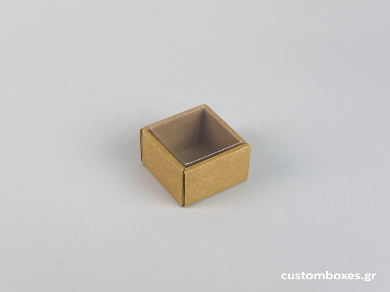 Οικολογικό κουτί kraft με διάφανο καπάκι μικρό δαχτυλίδι