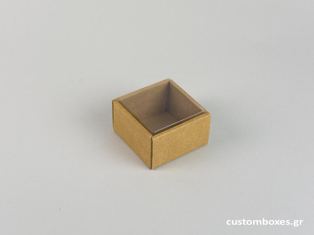 Οικολογικό κουτί kraft με διάφανο καπάκι μεγάλο δαχτυλίδι