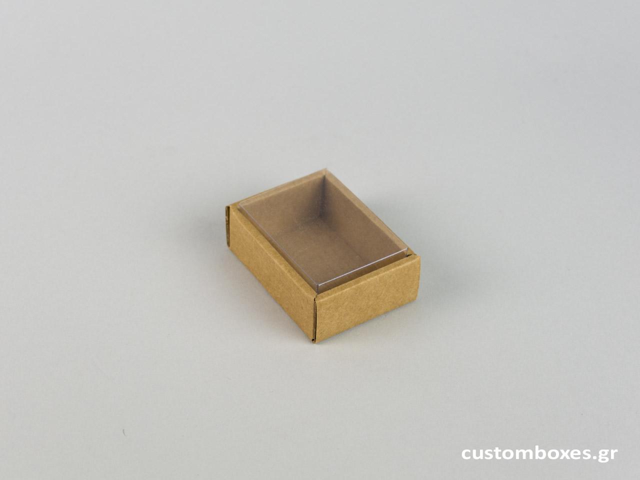 Οικολογικό κουτί kraft με διάφανο καπάκι μενταγιόν νο2