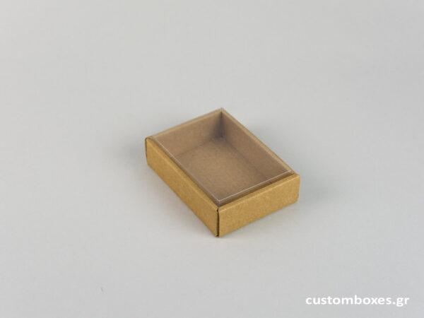 Οικολογικό κουτί kraft με διάφανο καπάκι μενταγιόν νο5