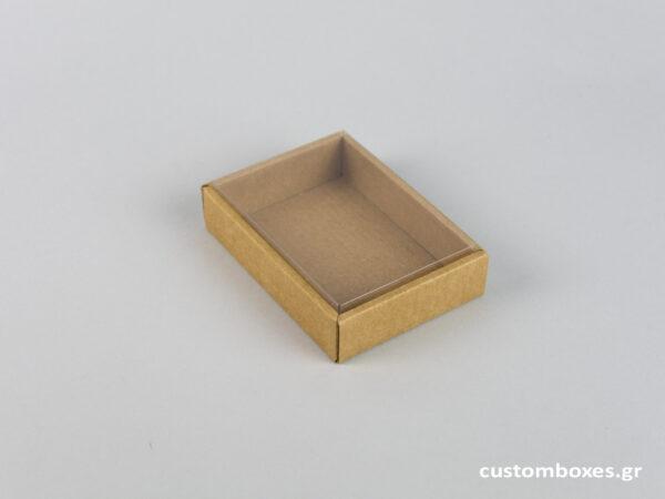 Οικολογικό κουτί kraft με διάφανο καπάκι μενταγιόν νο7