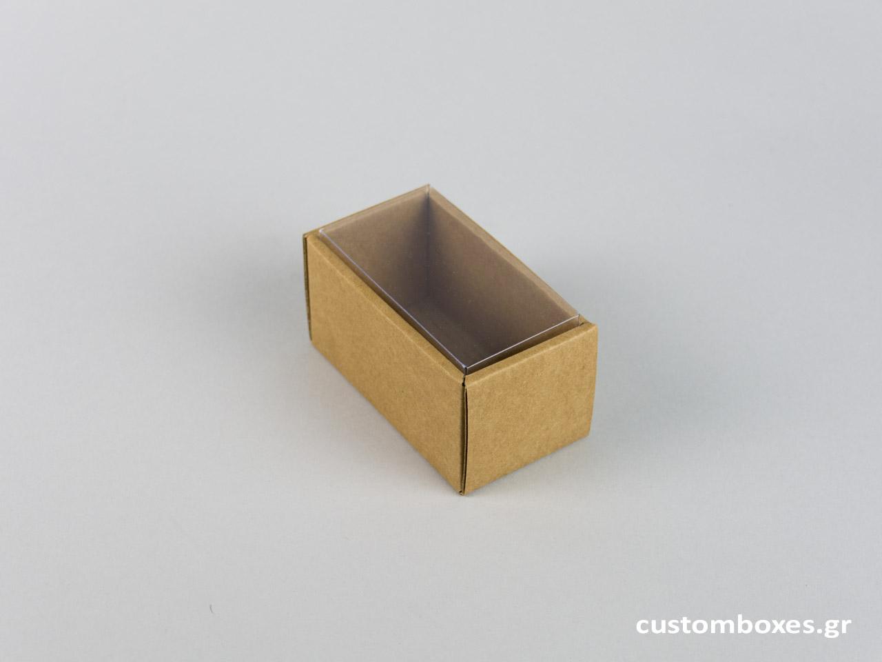 Οικολογικό κουτί kraft με διάφανο καπάκι βραχιόλι